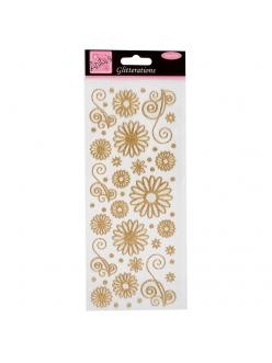 Наклейки с блестками Цветочки и узоры, белые с золотым контуром