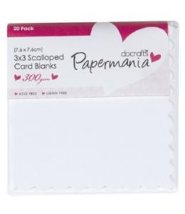 Набор заготовок для открыток с конвертами, зубчатый край, цвет белый, 7,6х7,6 см, Papermania