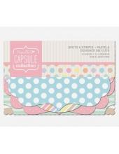 Набор высечки фигурной для скрапбукинга, коллекция Spots & Stripes Pastels, 18 штук, Papermania