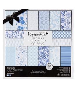 Набор бумаги для скрапбукинга Burleigh Blue, синий и голубой, 15,2х15,2 см, Papermania