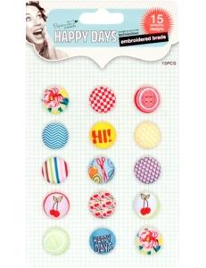 Набор брадсов тканевых, ретро-коллекция Happy Days, 15 шт., Docrafts