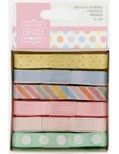 Набор лент пастельных цветов, коллекция Spots & Stripes Pastels, 6 штук, Papermania
