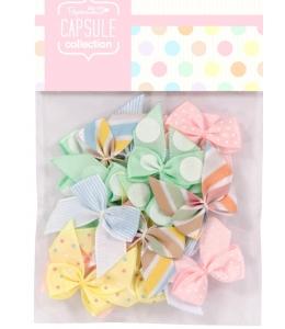 Набор бантиков пастельных цветов, коллекция Spots & Stripes Pastels, 20 штук, Papermania