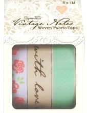 Набор клеевых тканевых лент для скрапбукинга Vintage Notes, 3 шт. по 1 м, Papermania