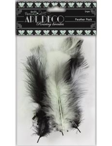 """Перья натуральные, набор """"Черный, белый, салатовый"""", коллекция Art Deco, 24 шт., DoCrafts"""