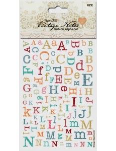 Натирка Алфавит, коллекция Vintage Notes, 2 листа, Papermania