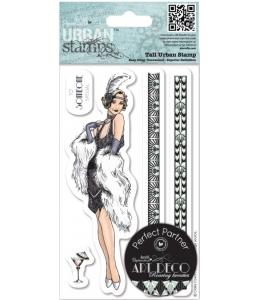 """Штампы резиновые на гибкой основе Art Deco, набор """"Женщина с пером"""", 5 шт, Docrafts"""