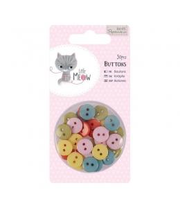 Набор декоративных мини пуговиц Little Meow, 30 шт, Papermania