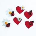 """Декоративные элементы """"Сердечки, божьи коровки, цветочки""""  с клеевым креплением, дерево, EFCO (Германия)"""