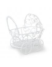 Миниатюрная коляска белая, металлическая, 7х7 см