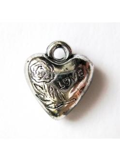 Подвеска для скрапбукинга Сердце Love, цвет старое серебро, 12х14 мм, пластик, EFCO