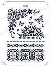"Трафарет пластиковый Фолк Арт EDFAP013 ""Бабочки и бодюры"", Event Design, 21х31 см"