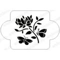 """Трафарет пластиковый EDMD077 """"Бабочки и цветок"""", 10х10 см, Event Design"""