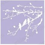 Трафарет маска фоновый EDMF072 Птички на ветке, Event Design, 15х15 см