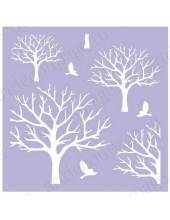 Трафарет маска фоновый EDMF075 Деревья, Event Design, 15х15 см