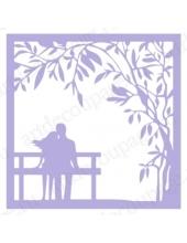 Трафарет маска фоновый МСК080 Двое на скамейке, Event Design, 15х15 см