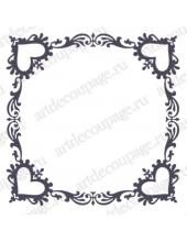 Трафарет маска фоновый МСК146 Рамка с сердечками, Event Design, 15х15 см