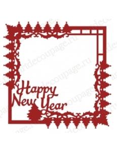 "Трафарет маска новогодний НГМС12 ""Рамка Happy new year"", 15х15 см, Event Design"