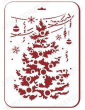 """Трафарет пластиковый новогодний EDNGP068 """"Новогодняя елка"""", 21х31 см, Event Design"""