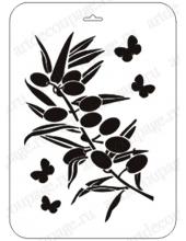 """Трафарет пластиковый EDPC046 """"Оливковая ветка и бабочки"""", 21х31 см, Event Design"""