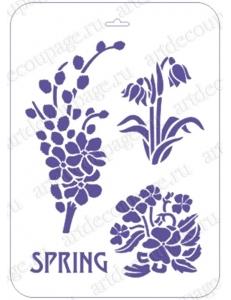 """Трафарет пластиковый EDTCP015 """"Весенние цветы, верба"""", 21х31 см, Event Design"""