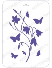 """Трафарет пластиковый EDTCP018 """"Колокольчики и бабочки"""", 21х31 см, Event Design"""