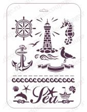 "Трафарет пластиковый EDTM009 ""Маяк, морские символы"", 21х31 см, Event Design"
