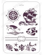 """Трафарет пластиковый EDTM010 """"Морская тематика"""", 21х31 см, Event Design"""