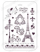 "Трафарет пластиковый EDTM041 ""Париж"", 21х31 см, Event Design"