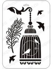 """Трафарет пластиковый EDTTP010 """"Клетка с птицами и павлинье перо"""", 21х31 см, Event Design"""