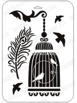 """Трафарет пластиковый """"Клетка с птицами и павлинье перо"""", 21х31 см, Event Design"""