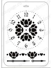 """Трафарет пластиковый EDTTP021 """"Циферблат с цветами"""", 21х31 см, Event Design"""