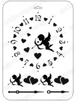 Трафарет для часов Циферблат с купидоном и сердечками, 21х31 см, Event Design