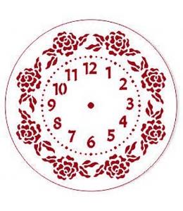 """Трафарет для часов пластиковый """"Циферблат с розами"""", Event Design, диаметр 15 см"""