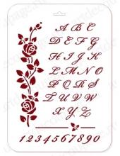 """Трафарет пластиковый ELGSH-02 """"Английский алфавит и розы"""", 21х31 см, Event Design"""