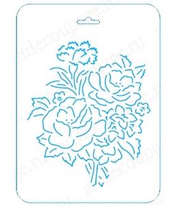 Трафарет контурный Розы и гвоздика, 16х22 см, Event Design