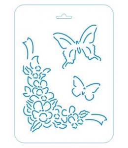 Трафарет контурный Цветы и бабочки, 16х22 см, Event Design