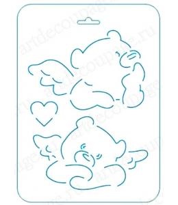 Трафарет контурный Мишка Тедди с крыльями, 16х22 см, Event Design