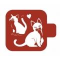 "Трафарет пластиковый Модуль Фауна М9Фн-66 ""Кот и кошка"" 9х9 см, Event Design"