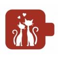 "Трафарет пластиковый Модуль Фауна М9Фн-86 ""Кот, кошка и сердечки"" 9х9 см, Event Design"