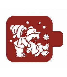"""Трафарет пластиковый Модуль Новый год М9Нг-120 """"Катание на коньках"""" 9х9 см, Event Design"""