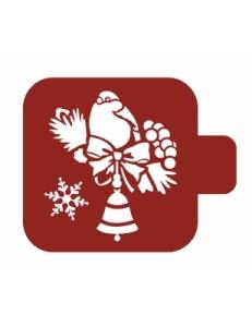 """Трафарет пластиковый Модуль Новый год М9Нг-141 """"Колокольчик и птичка"""" 9х9 см, Event Design"""