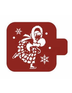 """Трафарет пластиковый Модуль Новый год М9Нг-145 """"Девушка на катке"""" 9х9 см, Event Design"""