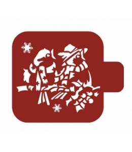 """Трафарет пластиковый Модуль Новый год М9Нг-166 """"Две птички"""" 9х9 см, Event Design"""