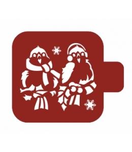 """Трафарет пластиковый Модуль Новый год М9Нг-168 """"Зимние птички"""" 9х9 см, Event Design"""