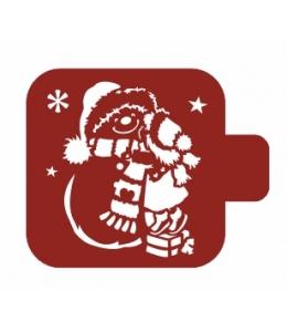 """Трафарет пластиковый Модуль Новый год М9Нг-170 """"Девочка и снеговик"""" 9х9 см, Event Design"""