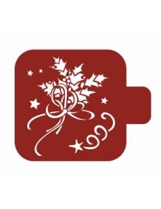 """Трафарет пластиковый Модуль Новый год М9Нг-179 """"Веточка остролиста"""" 9х9 см, Event Design"""