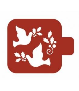 """Трафарет пластиковый Модуль Новый год М9Нг-186 """"Голуби"""" 9х9 см, Event Design"""