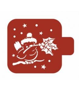 """Трафарет пластиковый Модуль Новый год М9Нг-187 """"Птичка с зимним цветком"""" 9х9 см, Event Design"""