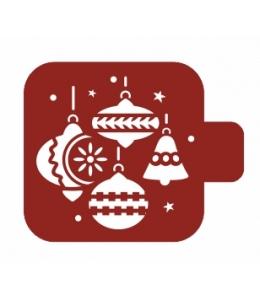 """Трафарет пластиковый Модуль Новый год М9Нг-21 """"Ёлочные игрушки"""" 9х9 см, Event Design"""